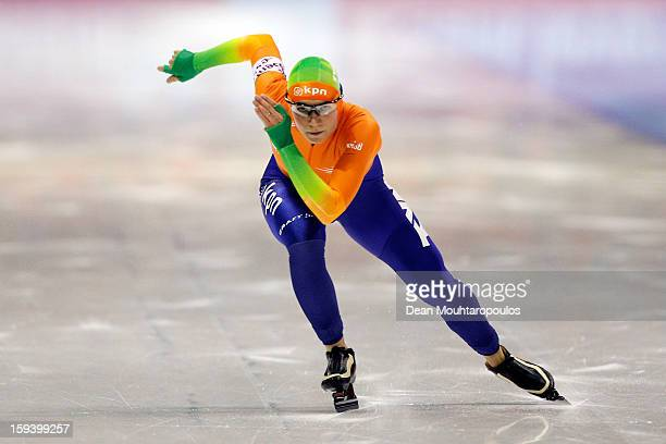 Linda de Vries of Netherlands competes in the 1500m Ladies race during the Final Day of the Essent ISU European Speed Skating Championships 2013 at...