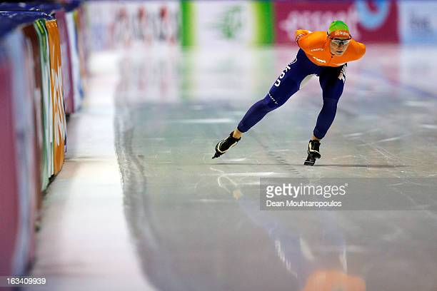 Linda de Vries of Netherlands competes in the 3000m Ladies race on Day 2 of the Essent ISU World Cup Speed Skating Championships 2013 at Thialf...