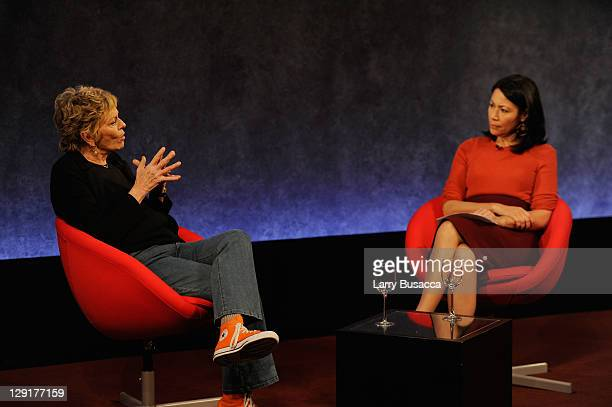 Linda Ellerbee and Ann Curry speak on stage at the 20th Anniversary of Nick News with Linda Ellerbee at Paley Center For Media on October 13 2011 in...