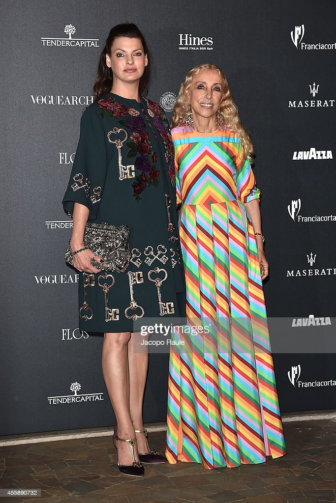 Linda Evangelista and Franca Sozzani attend Vogue Italia 50th Anniversary during Milan Fashion Week Womenswear Spring/Summer 2015 on September 21, 2014 in Milan, Italy.