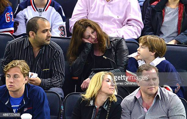 Linda Evangelista and son Augustin James Evangelista attend the Pittsburgh Penguins vs New York Rangers at Madison Square Garden on May 11 2014 in...
