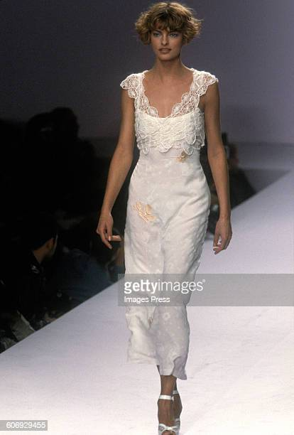 Linda Evangelista at the Anna Sui Spring 1997 show circa 1996 in New York City