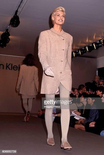 Linda Evangelista at the Calvin Klein Fall 1991 show circa 1991 in New York City.