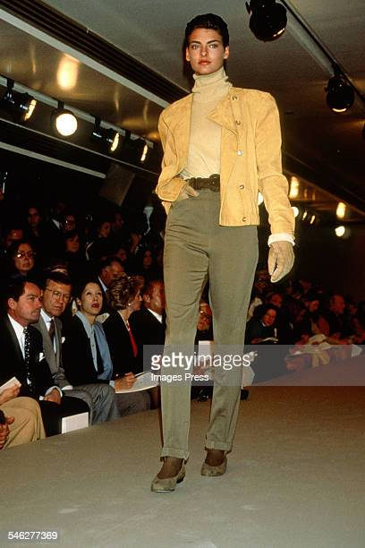 Linda Evangelista at the Calvin Klein Fashion Show circa 1989 in New York City.