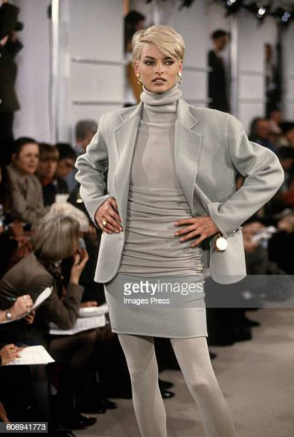 Linda Evangelista at the Donna Karan Fall 1991 show circa 1991 in New York City