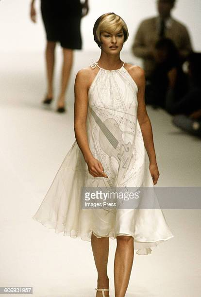 Linda Evangelista at the Hermes Spring 1996 show circa 1995 in Paris France