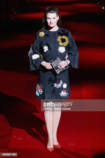 Linda Evangelista attends the Dolce Gabbana show during the Milan Fashion Week Womenswear Spring/Summer 2015 on September 21 2014 in Milan Italy