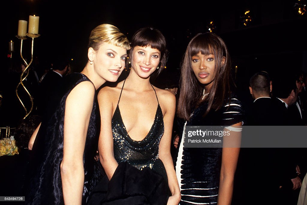 Linda Evangelista, Christy Turlington and Naomi Campbell at the 13th Annual CFDA Awards at the New York State Theater at Lincoln Center on February, 7, 1994 in New York City.