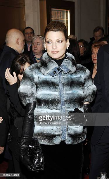 Linda Evangelista during Chita Rivera The Dancer's Life Broadway Opening Night Arrivals at Schoenfield Theatre in New York City New York United States