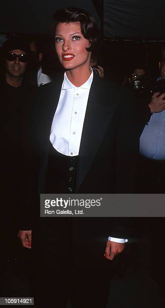 Linda Evangelista during Woolmark Awards For Men's Fashion - June 4, 1992 at New York Public Library in New York City, New York, United States.