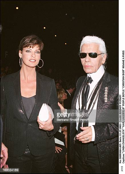 Linda Evangelista Karl Lagerfeld People Christian Dior masculine fashion show in Paris