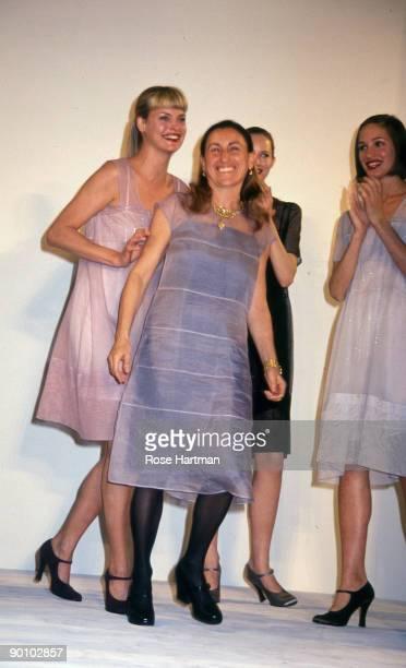 Linda Evangelista & Miuccia Prada at Bryant Park, early '90s