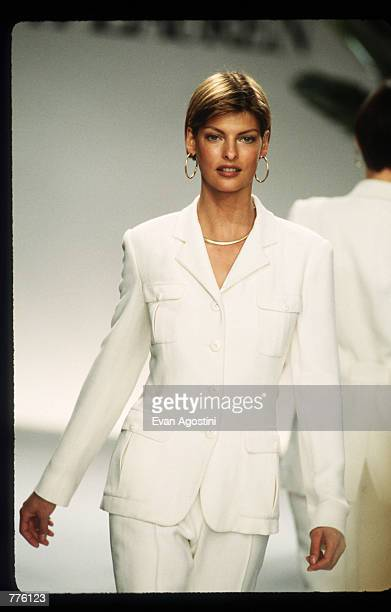 Linda Evangelista models clothing from the Ralph Lauren Spring 97 collection at the 7th on Sixth Fashion Show October 30, 1996 in New York City....
