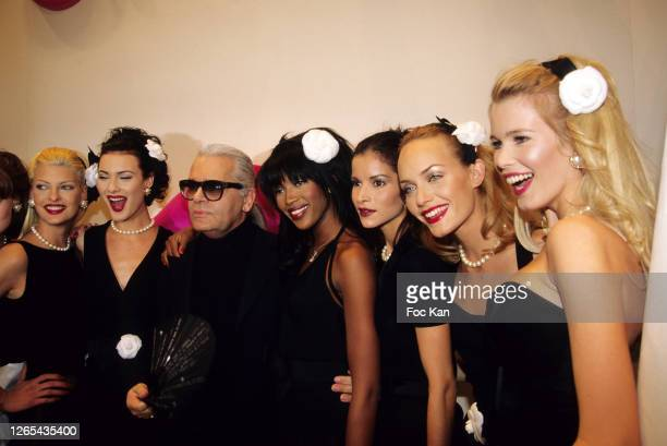 Linda Evangelista, Shalom Harlow, Karl Lagerfeld, Naomi Campbell, Amber Valetta and Claudia Schiffer attend a Chanel show during Paris Fashion Week...