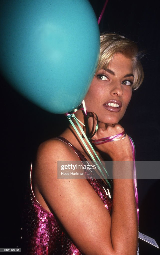 Linda Evangelista, Versace fashion show, Rock 'n' Rule Benefit after party, Park Avenue Armory, New York, New York, 1992.