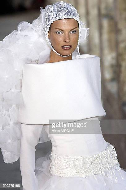 Linda Evangelista walks the runway during the Chanel Haute Couture show as part of Paris Fashion Week Fall/Winter 20032004 on July 7 2003 in Paris...