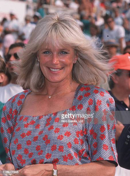 Linda Evans during US Open Tennis Match at Flushing Meadows Queens in Forest Hills New York United States