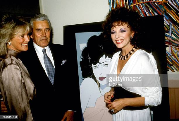 Linda Evans John Forsthy and Joan Collins from Dynasty