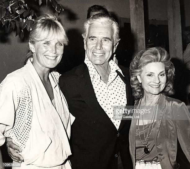 Linda Evans John Forsythe and Julie Forsythe during Linda Evans Sighting at Spago in Hollywood August 28 1984 at Spago Restaurant in Hollywood...
