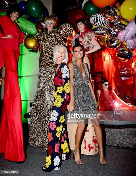 Linda Fargo and Giovanna Battaglia Engelbert attend Giovanna Battaglia Engelbert 'Giography' Book Launch at Bergdorf Goodman on September 8 2017 in...