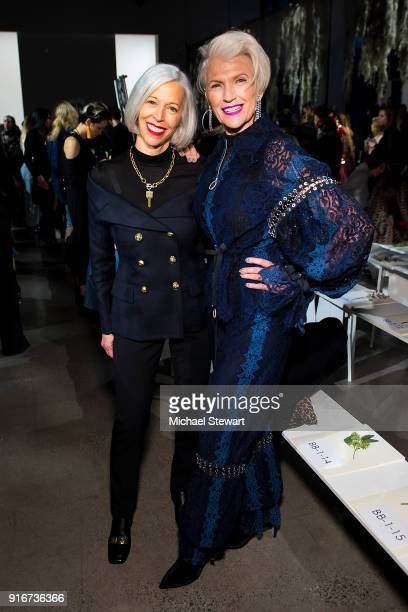 Linda Fargo and Maye Musk attend the Jonathan Simkhai fashion show during New York Fashion Week at Gallery I at Spring Studios on February 10 2018 in...