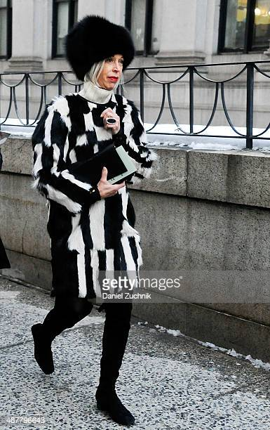 Linda Fargo is seen outside the Rag and Bone show on February 7 2014 in New York City