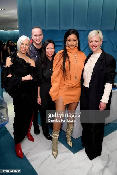 Linda Fargo, Matt Marcotte, Yumi Shin, Rihanna, and Darcy Penick attend as Robyn Rihanna Fenty and Linda Fargo celebrate the launch of FENTY at...