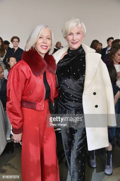 Linda Fargo senior vice president of the fashion office and store presentation at Bergdorf Goodman and model Maye Musk attend the Jason Wu front row...