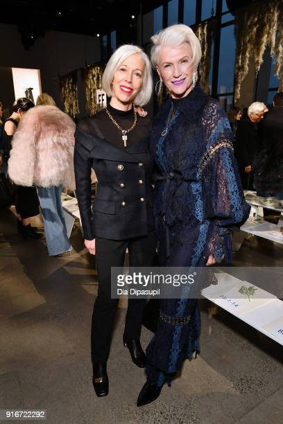 Linda Fargo senior vice president of the fashion office and store presentation at Bergdorf Goodman and model Maye Musk attend the Jonathan Simkhai...