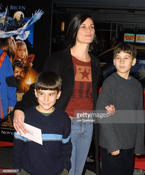 Linda Fiorentino her Children during Harry Potter and The Sorcerer's Stone New York Premiere at The Ziegfeld Theatre in New York City New York United...