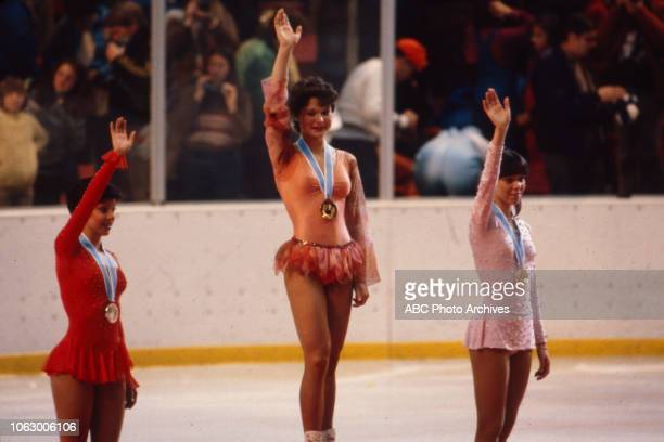 Linda Fratianne Anett Pötzsch Dagmar Lurz in medal ceremony for the Women's figure skating event at the 1980 Winter Olympics / XIII Olympic Winter...