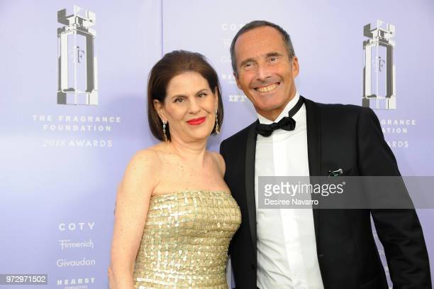 Linda G Levy and Olivier Cresp attend 2018 Fragrance Foundation Awards at Alice Tully Hall at Lincoln Center on June 12 2018 in New York City