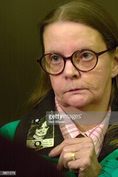 Linda G Rule wears a small photo of her daughter Linda Jane Rule who was killed by mass murderer Gary Ridgway known as the Green River Killer...