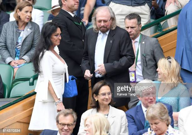 Linda Gibb and Barry Gibb attend day 11 of Wimbledon 2017 on July 14, 2017 in London, England.
