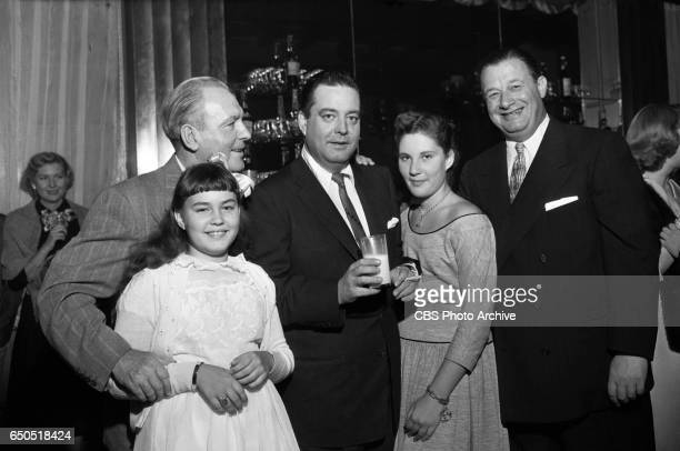 Linda Gleason Unidentified Jackie Gleason Geraldine Gleason and Toots Shor celebrate at The Jackie Gleason Show after party at Toots Shors restaurant...