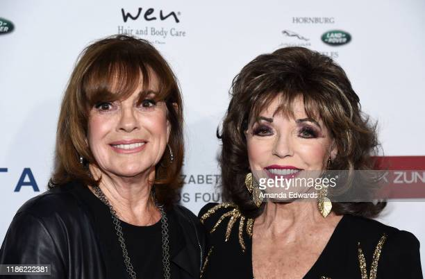 Linda Gray and Dame Joan Collins arrive at a cocktail reception benefiting The Elizabeth Taylor AIDS Foundation at the Mark Zunino Atelier on...