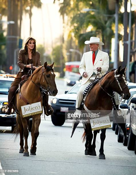 Linda Gray and Larry Hagman arrive to the Larry Hagman And Linda Gray VIP Preview Party At Julien's Auction on June 1 2011 in Beverly Hills California