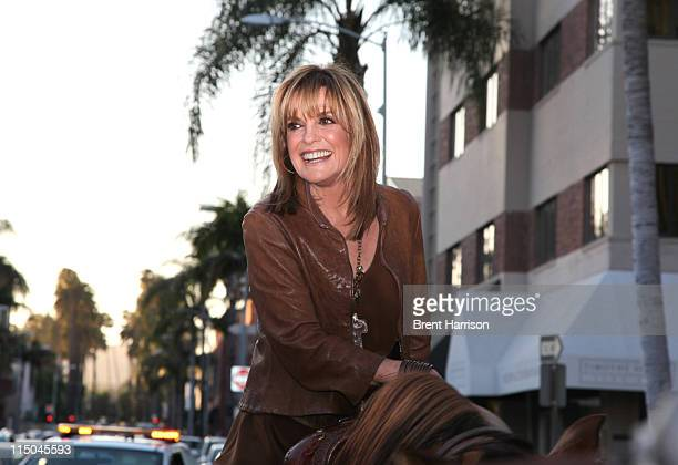 Linda Gray arrives on horseback at Julien's Auctions to celebrate The Larry Hagman Collection June 1 2011 in Beverly Hills California