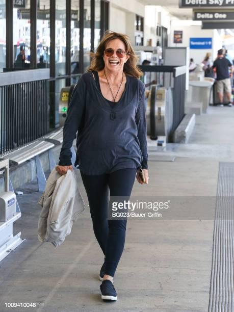 Linda Gray is seen at Los Angeles International Airport on August 01 2018 in Los Angeles California
