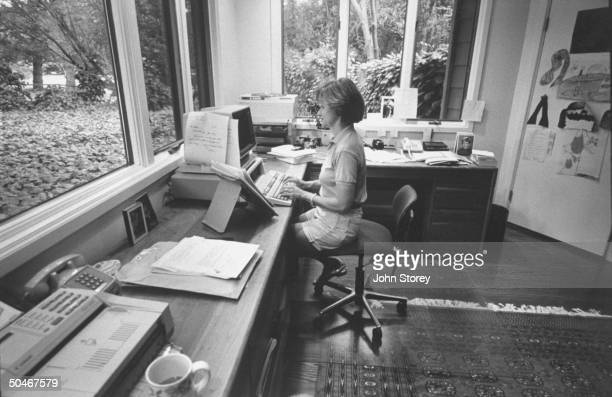 Linda Gray Sexton novelist biographer of her poet mother Anne Sexton writing at word processor in her office at home