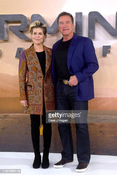 Linda Hamilton and Arnold Schwarzenegger attend the Terminator Dark Fate photocall on October 17 2019 in London England