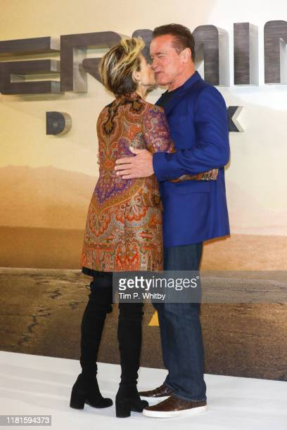 Linda Hamilton and Arnold Schwarzenegger during the Terminator Dark Fate photocall on October 17 2019 in London England