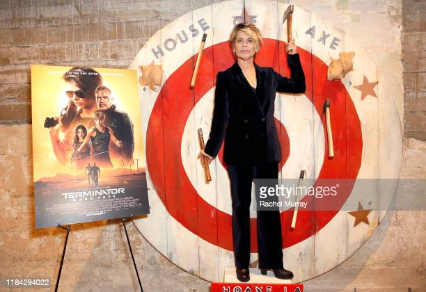 Linda Hamilton attends an axe throwing event prior to the Terminator Dark Fate Screening at the ArcLight Hollywood on October 29 2019 in Hollywood...