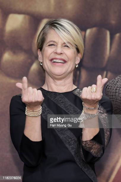 Linda Hamilton attends during a press conference for 'Terminator Dark Fate' on October 21 2019 in Seoul South Korea The film will open on October 30...