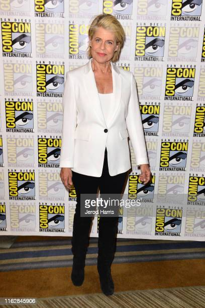 Linda Hamilton attends Terminator Dark Fate press line at Hilton Bayfront on July 18 2019 in San Diego California