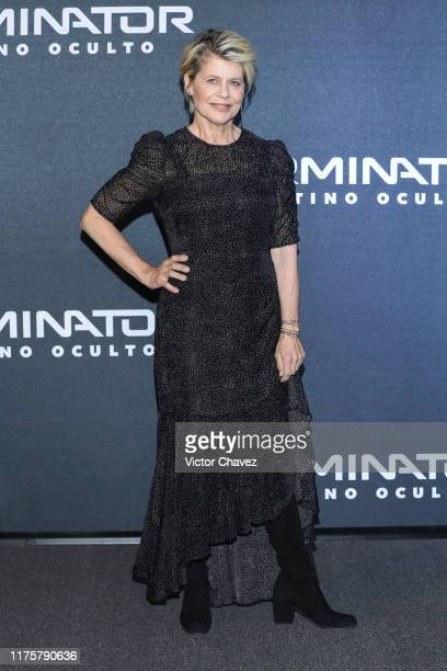 Linda Hamilton attends the Terminator Dark Fate fan event at Toreo Parque Central on October 13 2019 in Mexico City Mexico