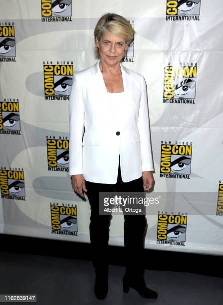 Linda Hamilton attends the Terminator Dark Fate panel during 2019 ComicCon International at San Diego Convention Center on July 18 2019 in San Diego...
