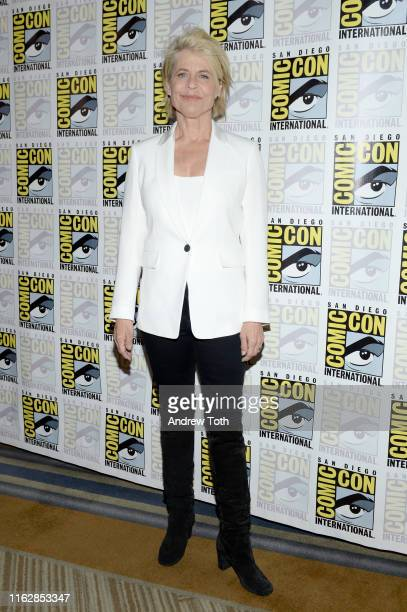 Linda Hamilton attends the Terminator Dark Fate Red Carpet at San Diego ComicCon 2019 on July 18 2019 in San Diego California