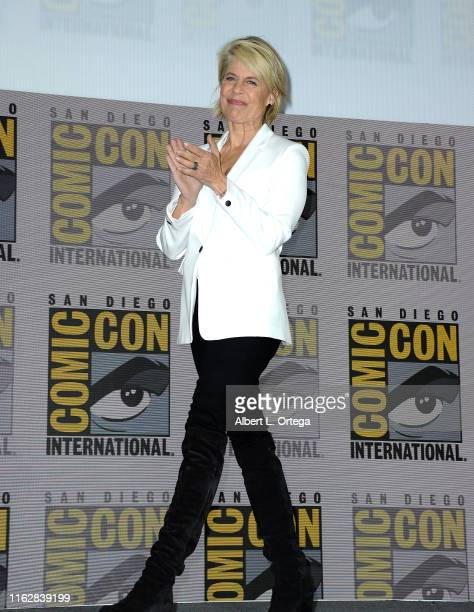 Linda Hamilton speaks at the Terminator Dark Fate panel during 2019 ComicCon International at San Diego Convention Center on July 18 2019 in San...