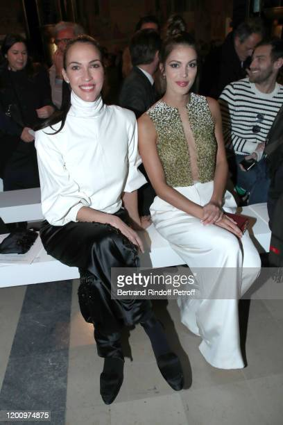 Linda Hardy and ris Mittenaere attend the Stephane Rolland Haute Couture Spring/Summer 2020 show as part of Paris Fashion Week on January 21 2020 in...